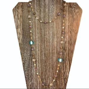 Faceted Beaded Faux Pearl Necklace Purple & Blue